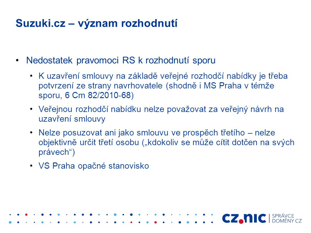 Suzuki.cz – význam rozhodnutí