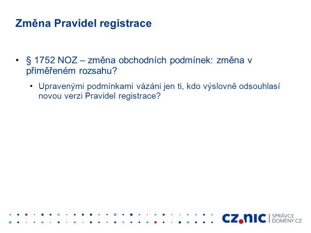 Změna Pravidel registrace