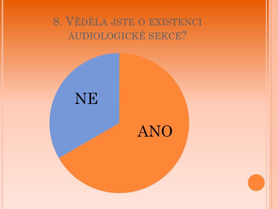 8. Věděla jste o existenci audiologické sekce