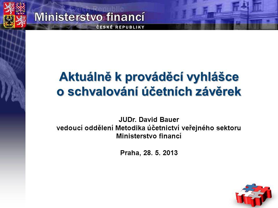 Aktuálně k prováděcí vyhlášce o schvalování účetních závěrek