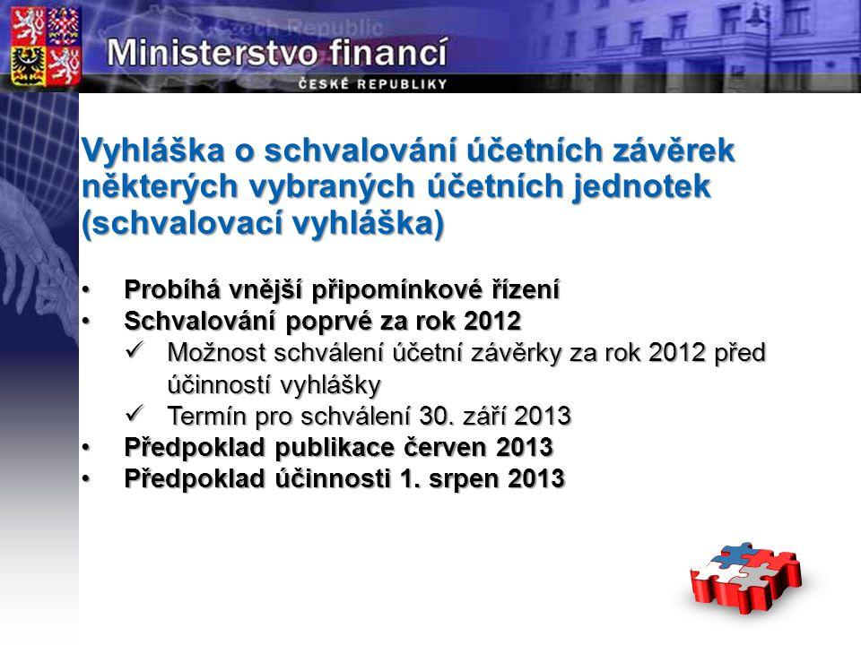 Vyhláška o schvalování účetních závěrek některých vybraných účetních jednotek (schvalovací vyhláška)