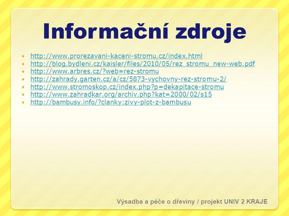 Informační zdroje http://www.prorezavani-kaceni-stromu.cz/index.html
