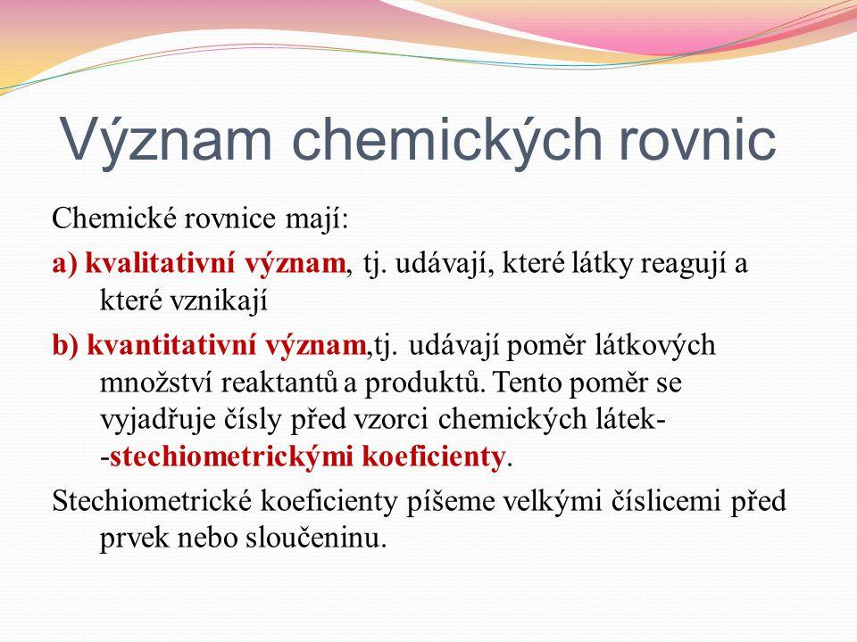 Význam chemických rovnic