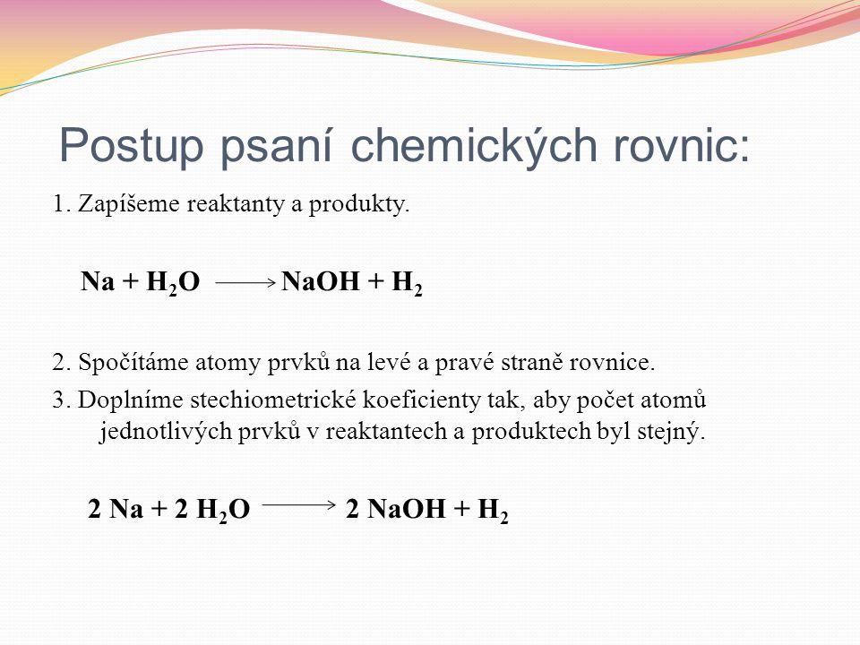 Postup psaní chemických rovnic: