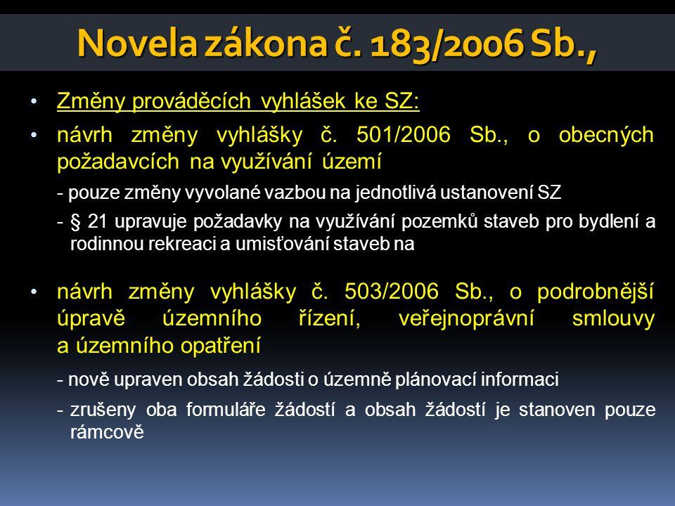 Novela zákona č. 183/2006 Sb., Změny prováděcích vyhlášek ke SZ: