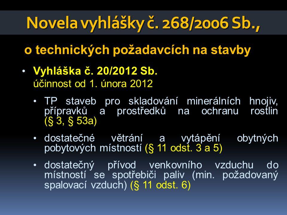 Novela vyhlášky č. 268/2006 Sb., o technických požadavcích na stavby