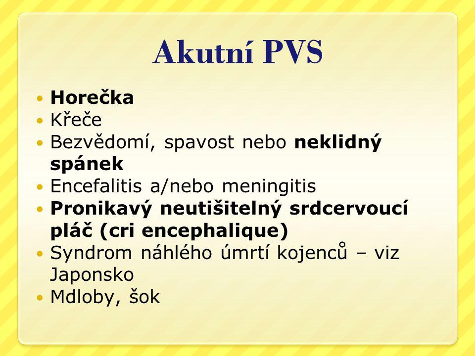 Akutní PVS Horečka Křeče Bezvědomí, spavost nebo neklidný spánek