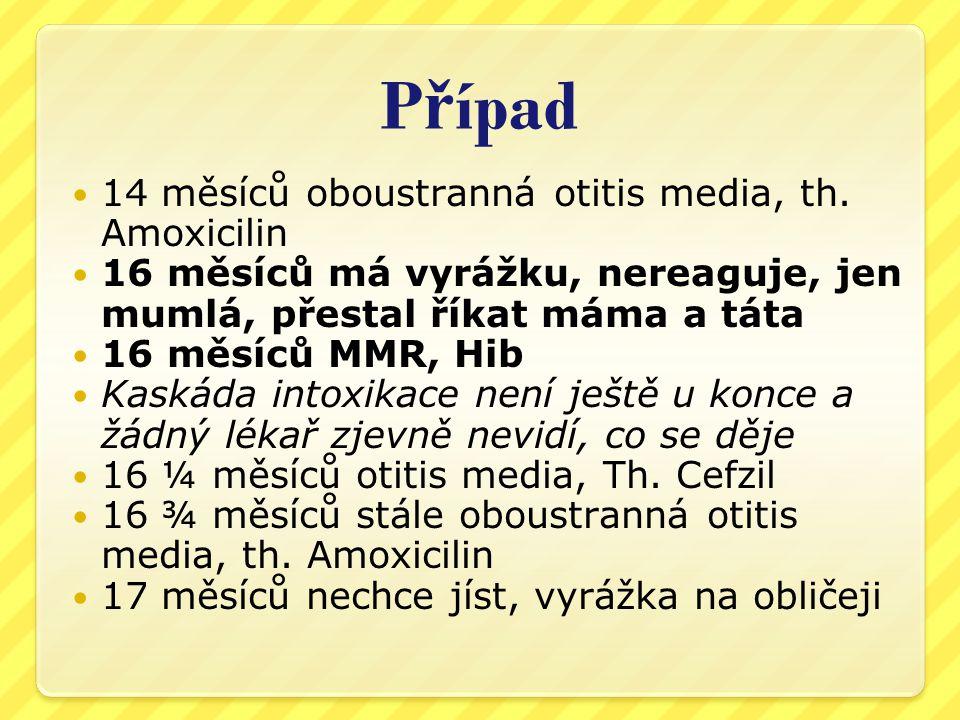 Případ 14 měsíců oboustranná otitis media, th. Amoxicilin