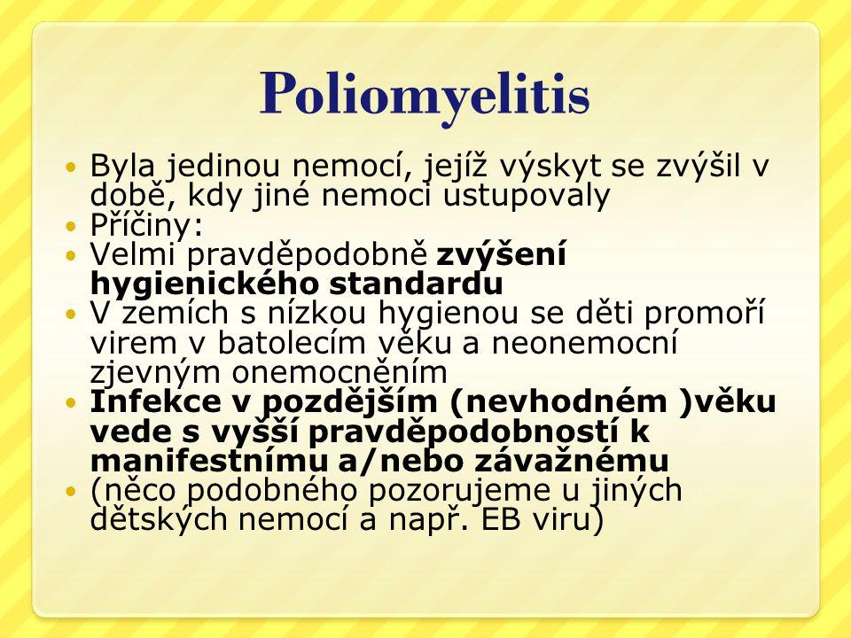 Poliomyelitis Byla jedinou nemocí, jejíž výskyt se zvýšil v době, kdy jiné nemoci ustupovaly. Příčiny: