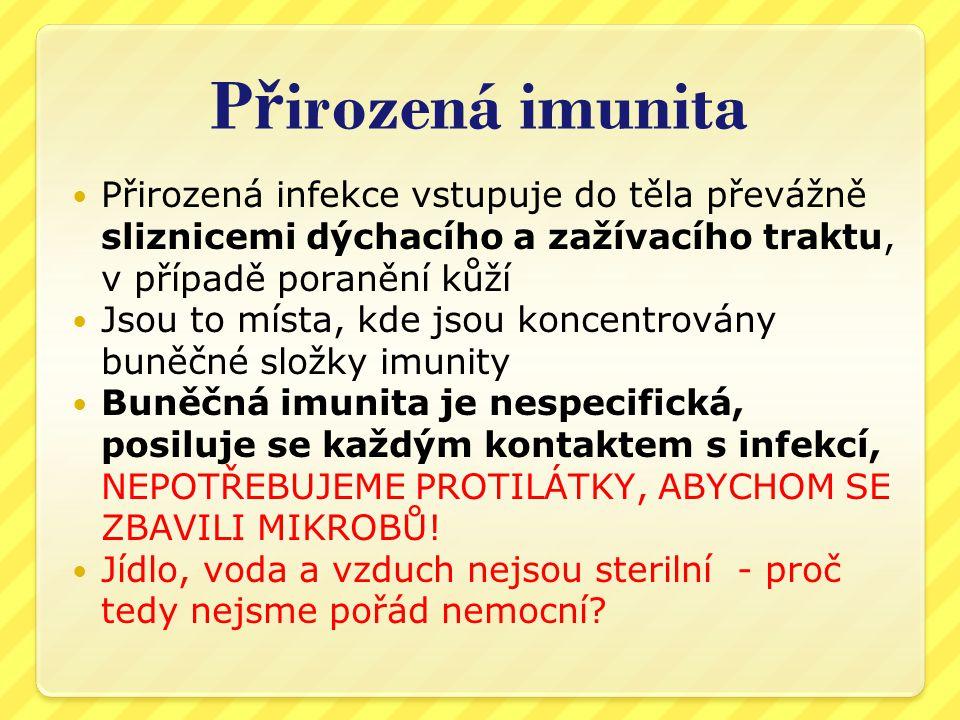 Přirozená imunita Přirozená infekce vstupuje do těla převážně sliznicemi dýchacího a zažívacího traktu, v případě poranění kůží.