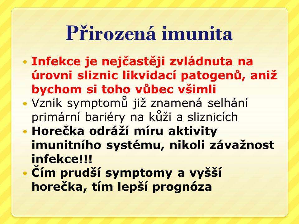 Přirozená imunita Infekce je nejčastěji zvládnuta na úrovni sliznic likvidací patogenů, aniž bychom si toho vůbec všimli.