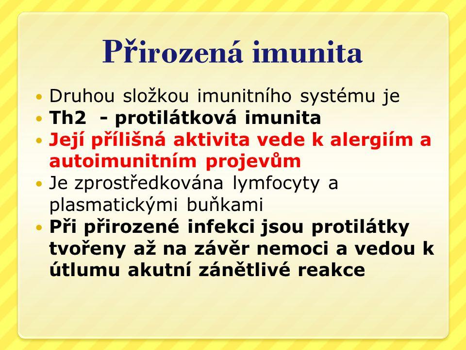 Přirozená imunita Druhou složkou imunitního systému je