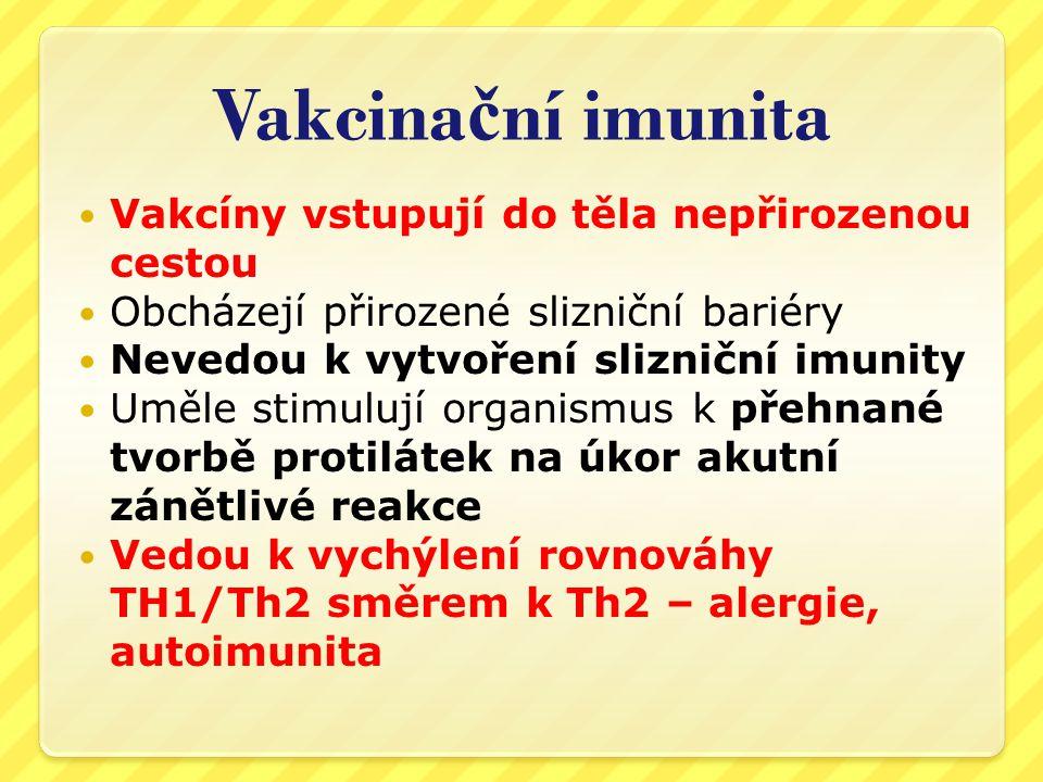 Vakcinační imunita Vakcíny vstupují do těla nepřirozenou cestou