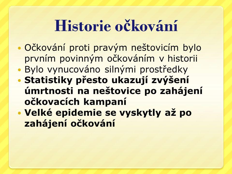 Historie očkování Očkování proti pravým neštovicím bylo prvním povinným očkováním v historii. Bylo vynucováno silnými prostředky.
