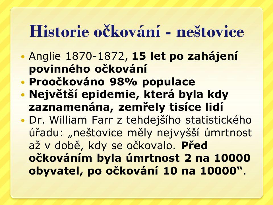 Historie očkování - neštovice
