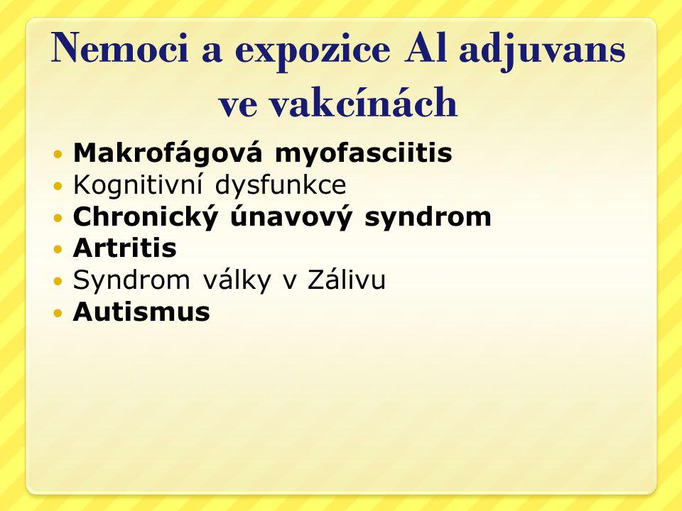 Nemoci a expozice Al adjuvans ve vakcínách