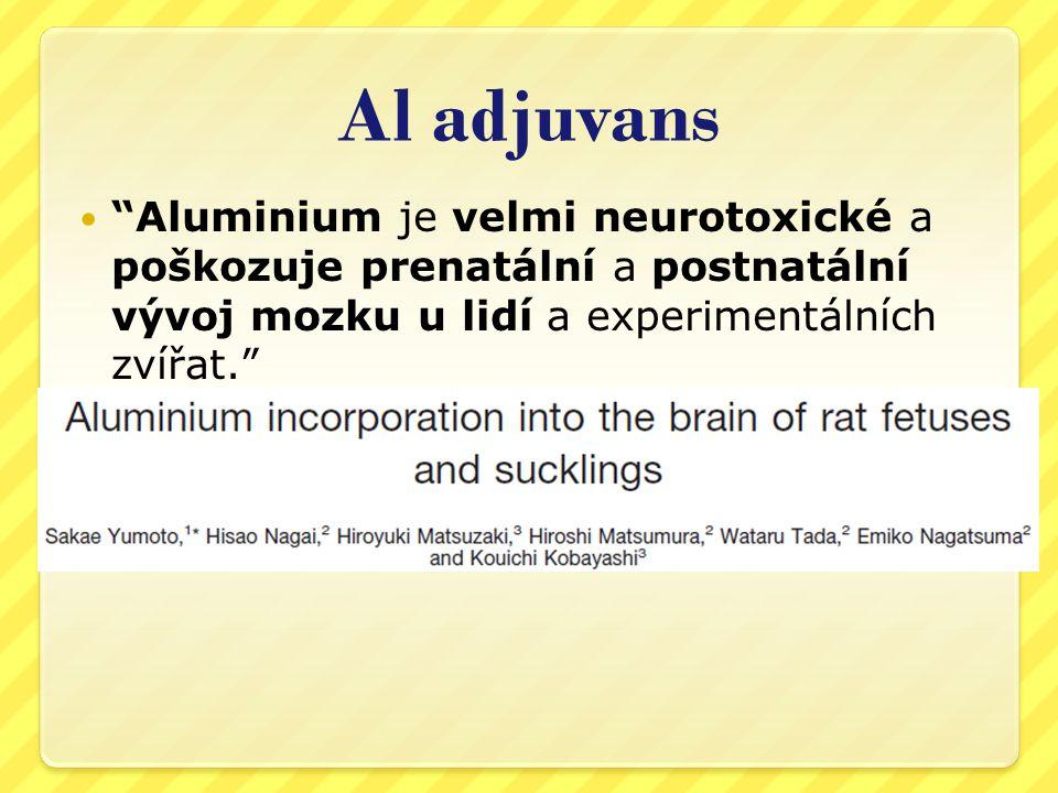 Al adjuvans Aluminium je velmi neurotoxické a poškozuje prenatální a postnatální vývoj mozku u lidí a experimentálních zvířat.