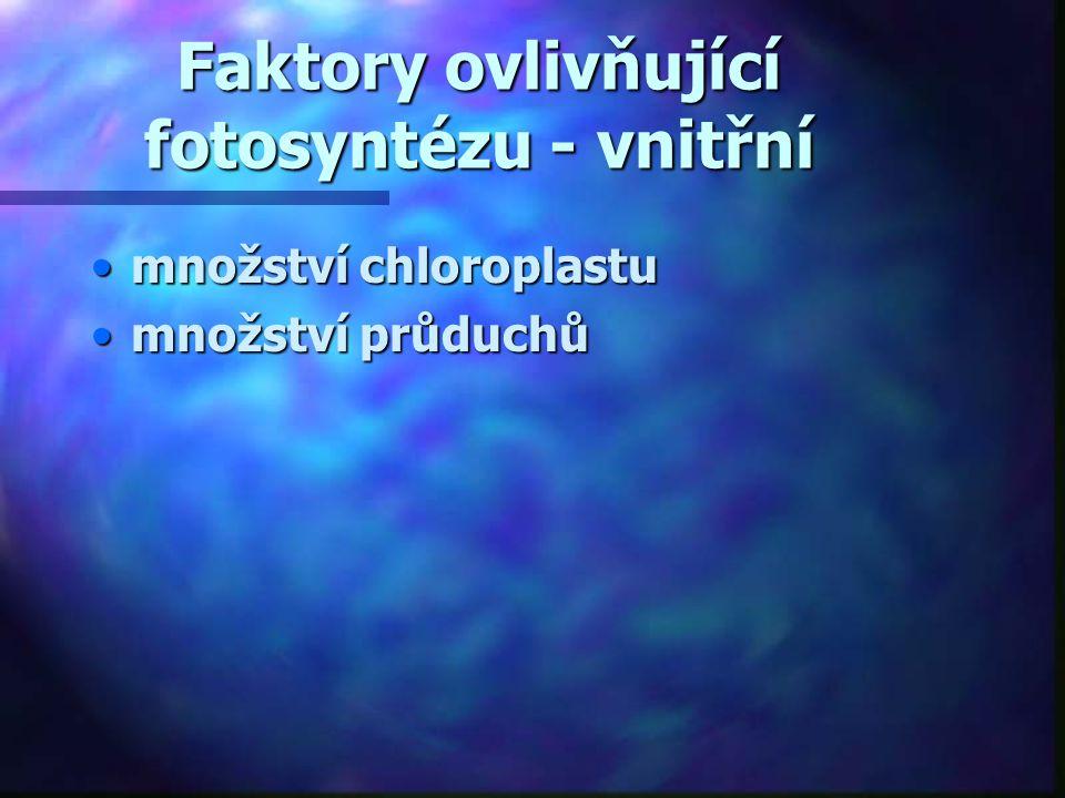 Faktory ovlivňující fotosyntézu - vnitřní