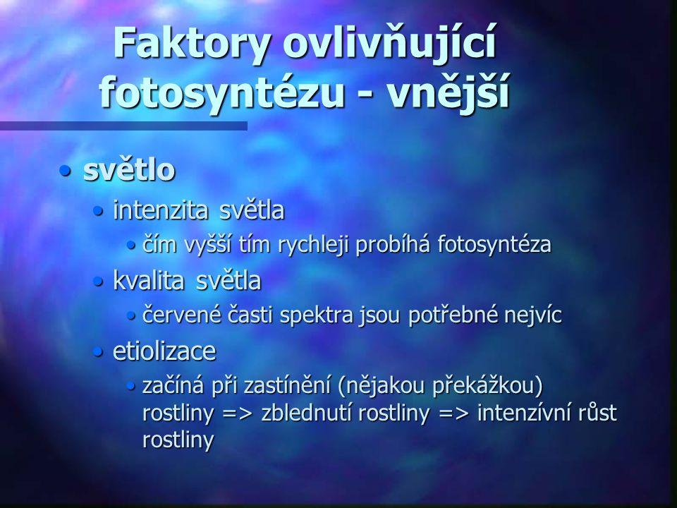 Faktory ovlivňující fotosyntézu - vnější