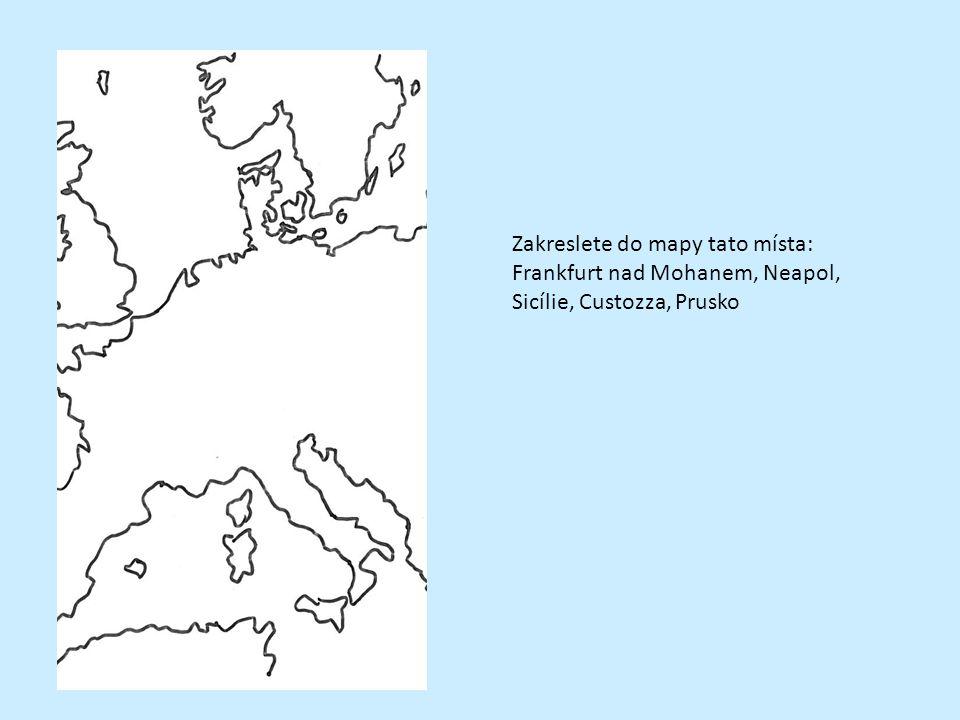 Zakreslete do mapy tato místa: