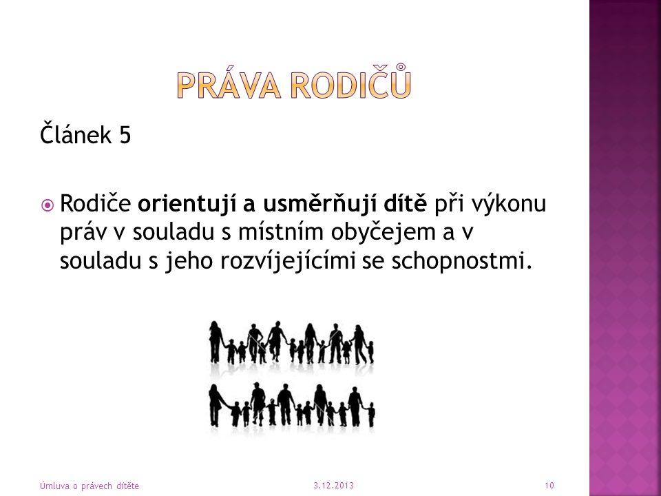 Práva rodičů Článek 5.