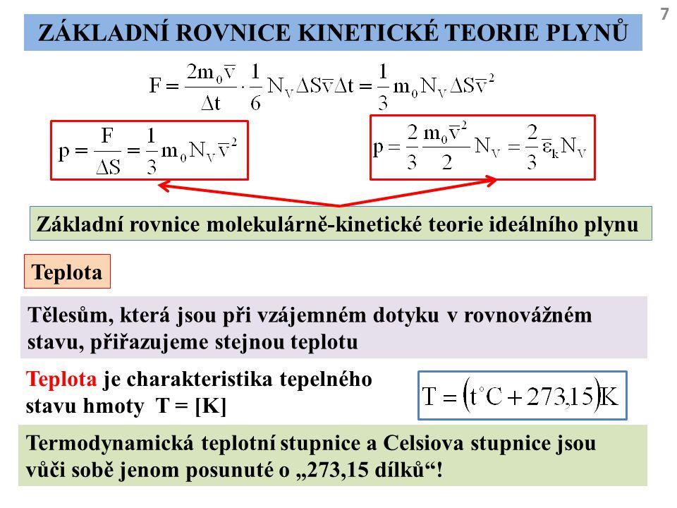 Základní rovnice kinetické teorie plynů