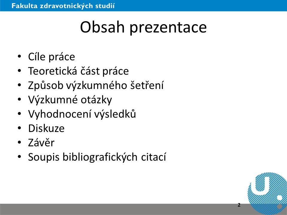 Obsah prezentace Cíle práce Teoretická část práce