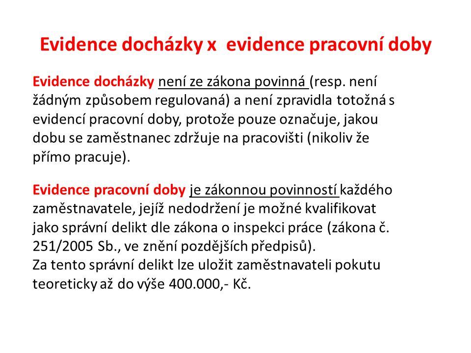 Evidence docházky x evidence pracovní doby