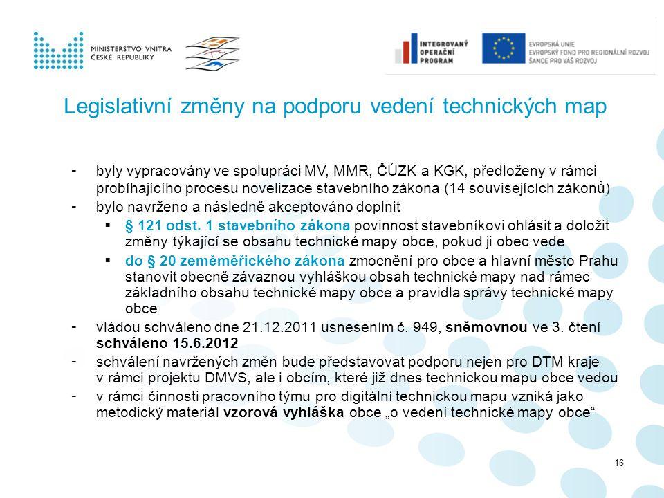 Legislativní změny na podporu vedení technických map