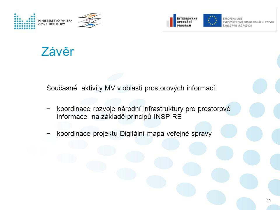 Závěr Současné aktivity MV v oblasti prostorových informací: