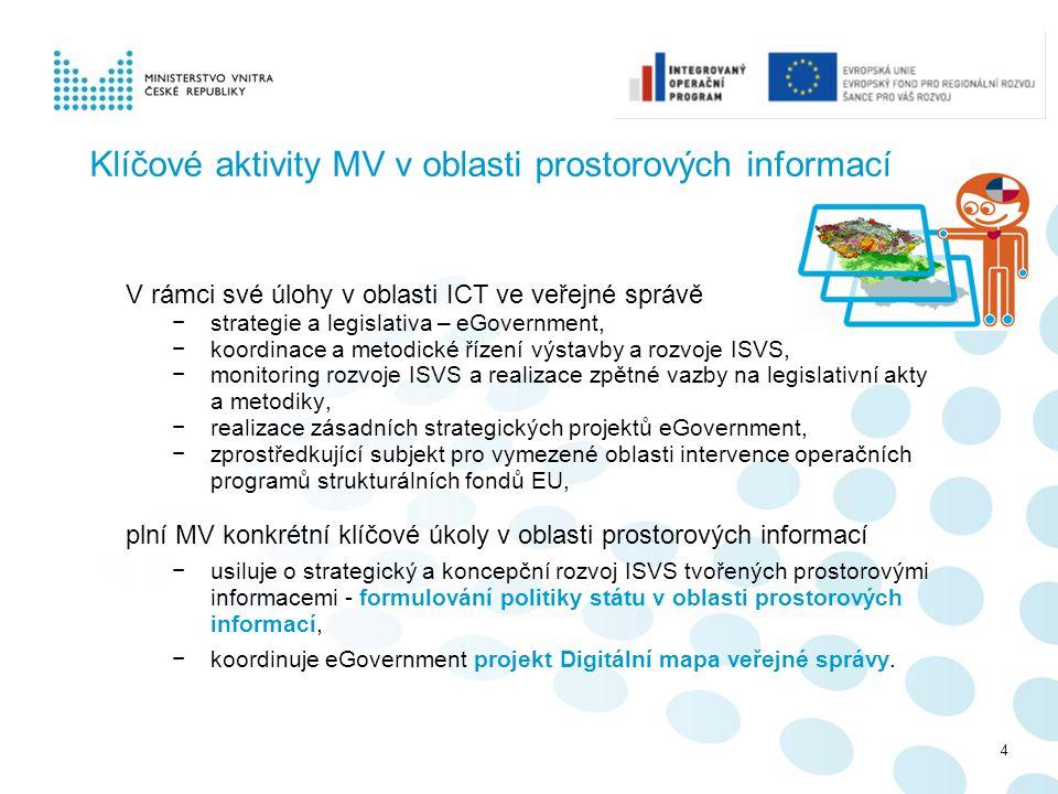 Klíčové aktivity MV v oblasti prostorových informací