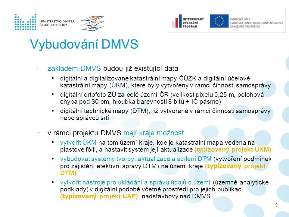 Vybudování DMVS základem DMVS budou již existující data