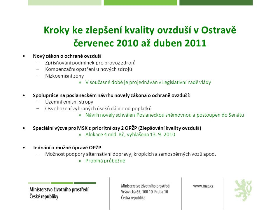 Kroky ke zlepšení kvality ovzduší v Ostravě červenec 2010 až duben 2011