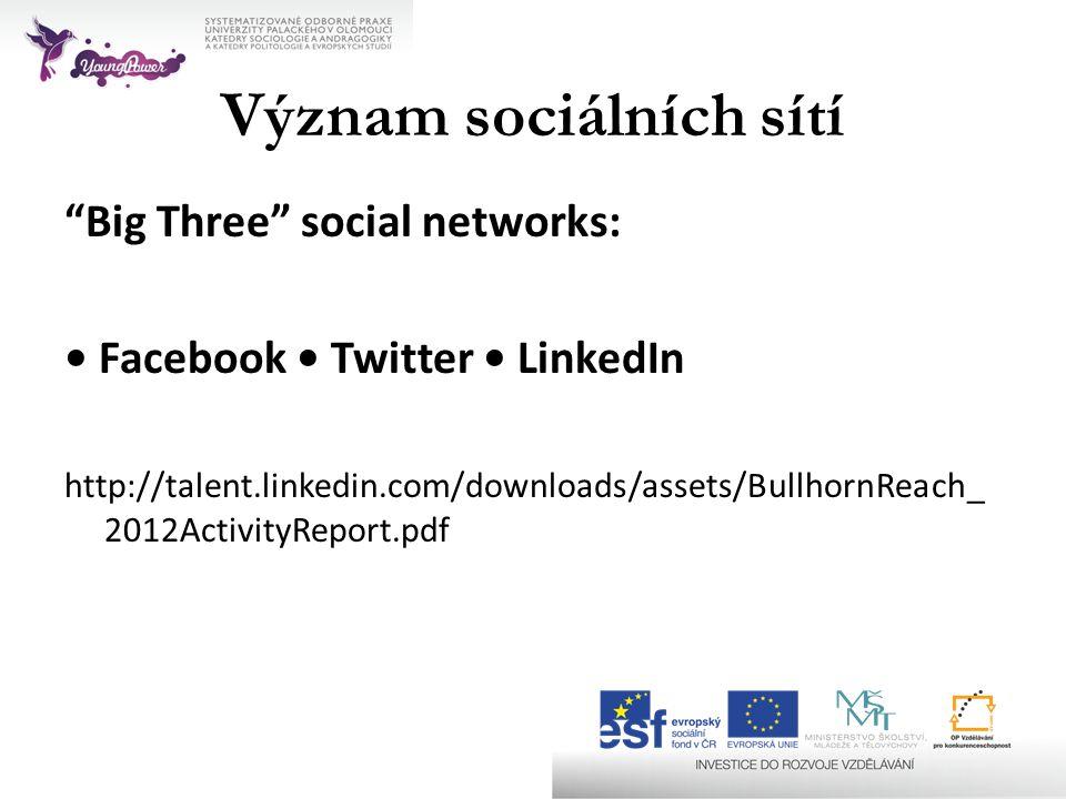 Význam sociálních sítí