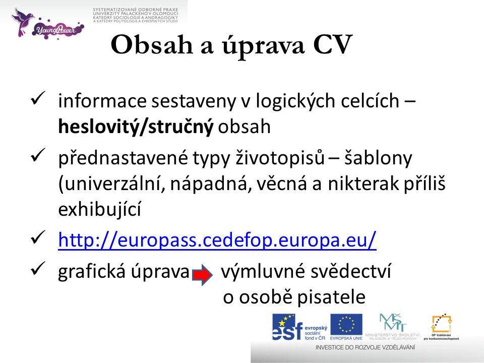 Obsah a úprava CV informace sestaveny v logických celcích – heslovitý/stručný obsah.