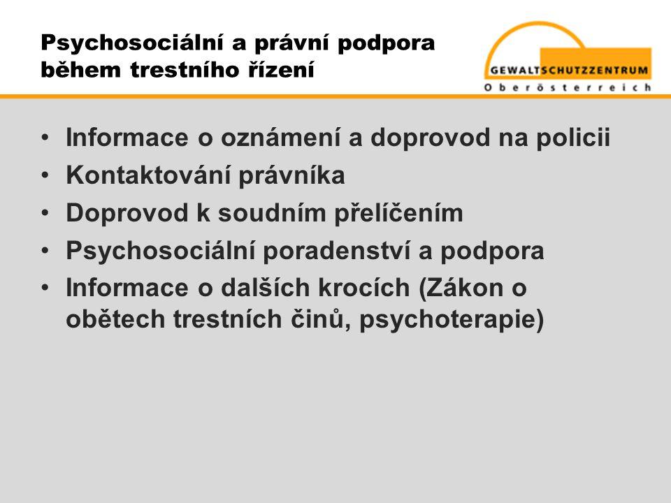 Psychosociální a právní podpora během trestního řízení