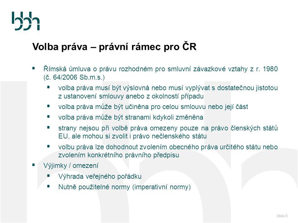 Volba práva – právní rámec pro ČR