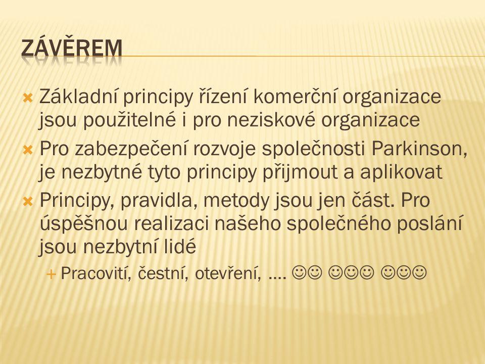 závěrem Základní principy řízení komerční organizace jsou použitelné i pro neziskové organizace.