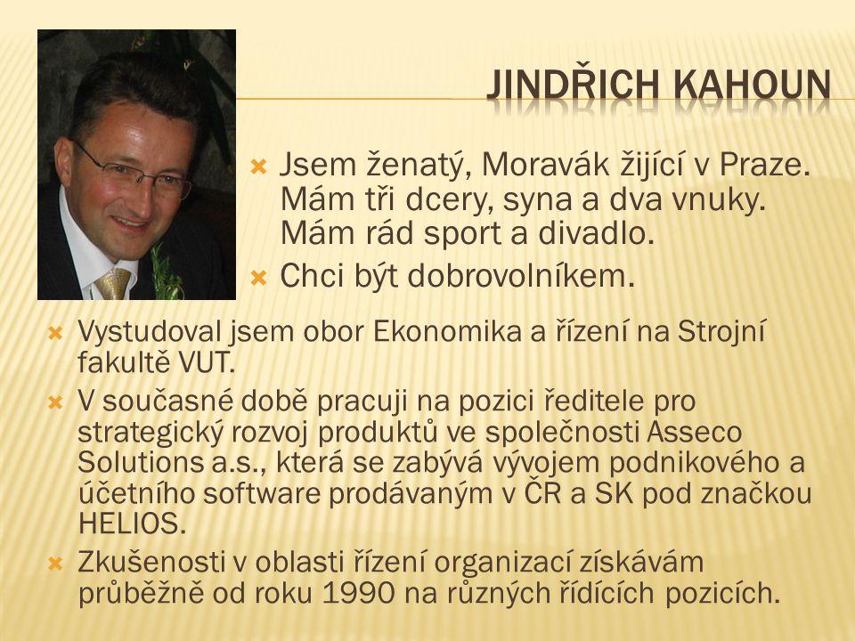 Jindřich Kahoun Jsem ženatý, Moravák žijící v Praze. Mám tři dcery, syna a dva vnuky. Mám rád sport a divadlo.