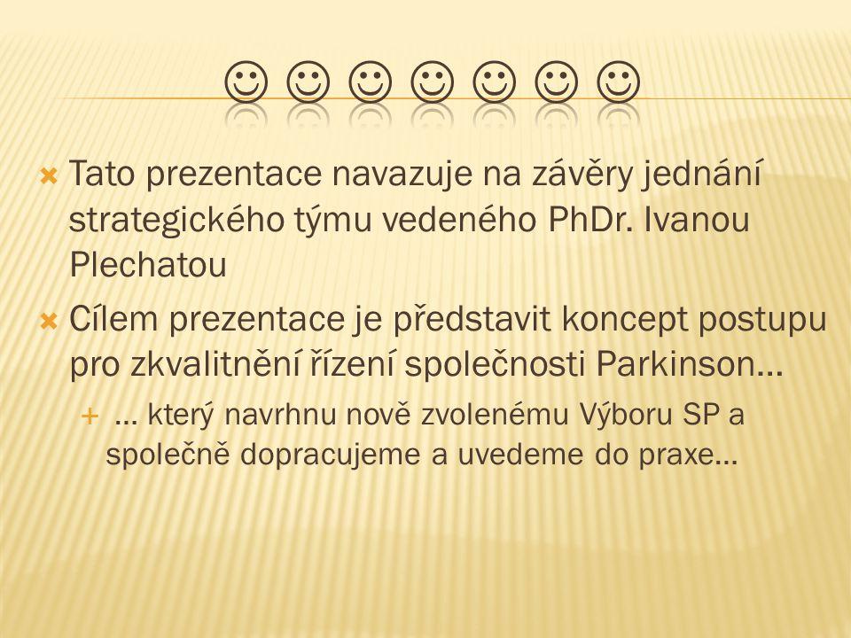        Tato prezentace navazuje na závěry jednání strategického týmu vedeného PhDr. Ivanou Plechatou.