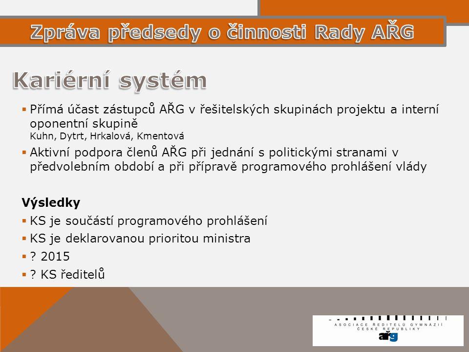 Kariérní systém Zpráva předsedy o činnosti Rady AŘG
