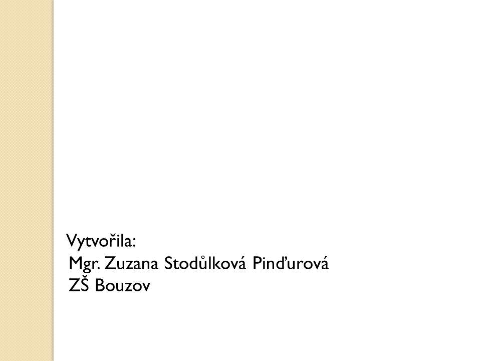 Vytvořila: Mgr. Zuzana Stodůlková Pinďurová ZŠ Bouzov
