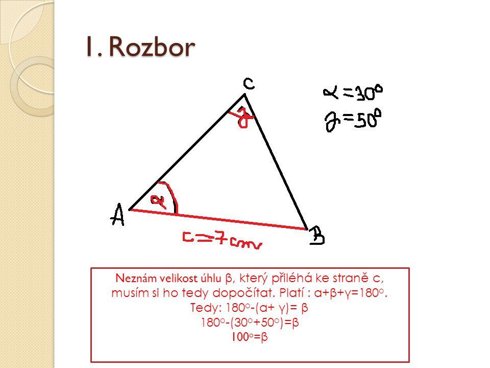 1. Rozbor Neznám velikost úhlu β, který přiléhá ke straně c, musím si ho tedy dopočítat. Platí : α+β+γ=180o. Tedy: 180o-(α+ γ)= β.