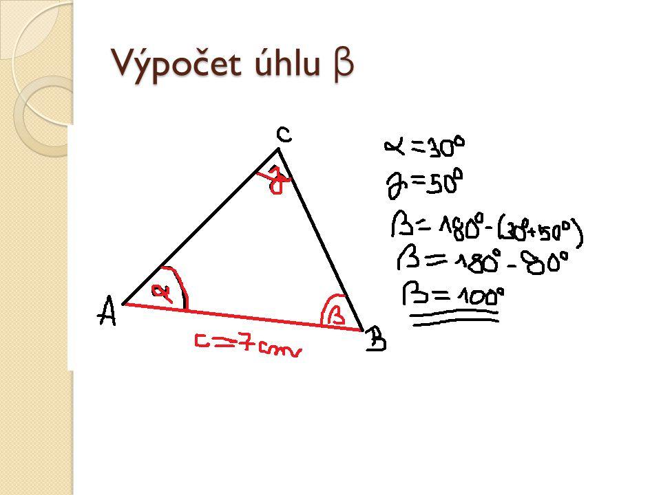 Výpočet úhlu β