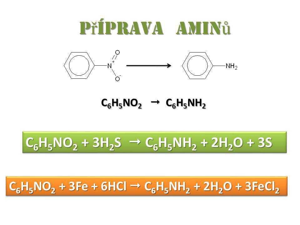 Příprava aminů C6H5NO2 + 3H2S  C6H5NH2 + 2H2O + 3S