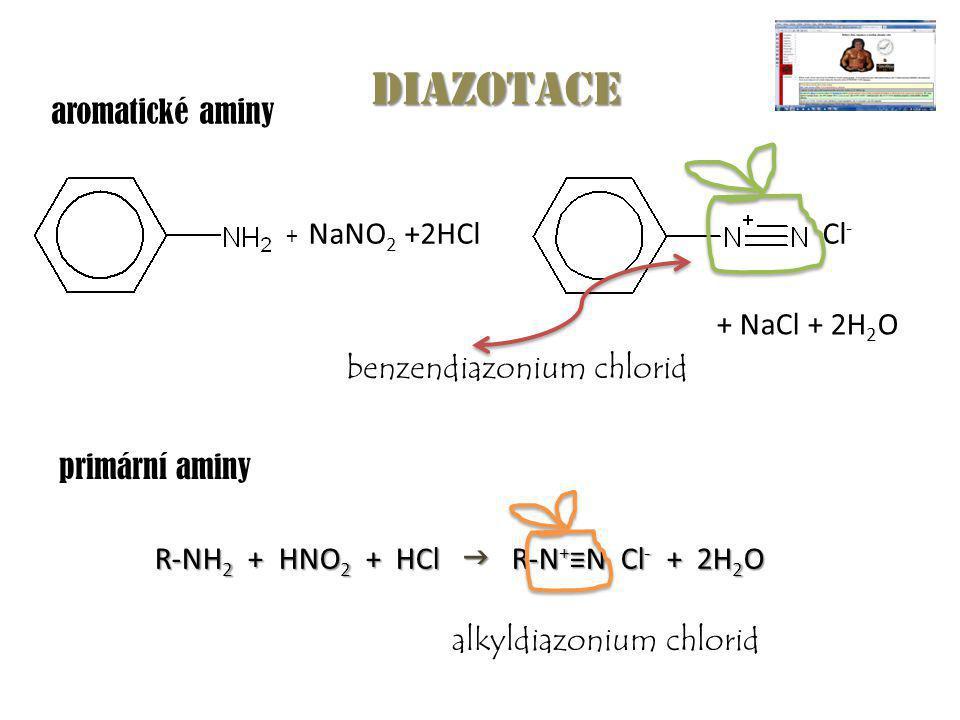 diazotace aromatické aminy NaNO2 +2HCl Cl- + NaCl + 2H2O