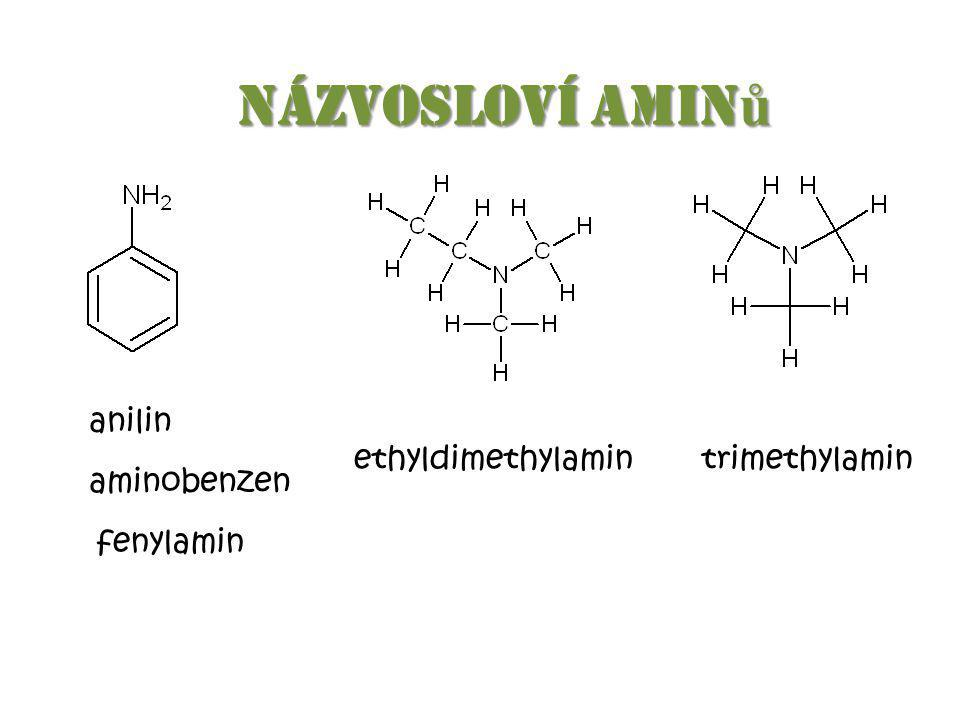 Názvosloví aminů anilin ethyldimethylamin trimethylamin aminobenzen