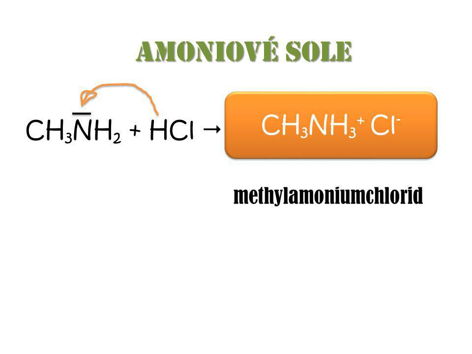 Amoniové sole CH3NH3+ Cl- CH3NH2 + HCl …………………… methylamoniumchlorid