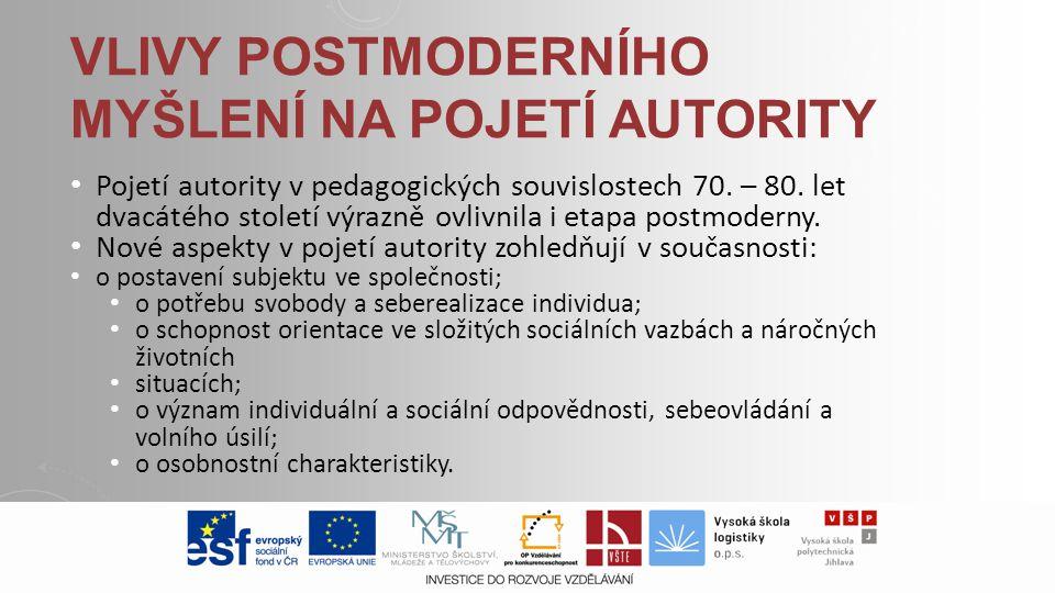 Vlivy postmoderního myšlení na pojetí autority