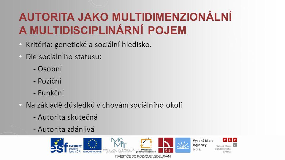 Autorita jako multidimenzionální a multidisciplinární pojem